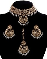 Champagne CZ Indian Choker Necklace Set NANA11295C Indian Jewellery