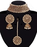 Champagne American Diamond Wide Choker, Jhumkis & Tikka NANA11300 Indian Jewellery