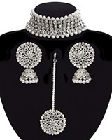 Silver American Diamond Wide Choker, Jhumkis & Tikka NSWA11299 Indian Jewellery