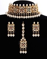 Heritage Multi-coloured Kundan 22k Plated Jewellery Set NEMK11301 Indian Jewellery