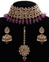 Premium Antique CZ Wide Indian Choker Set in Ruby NARA11302 Indian Jewellery