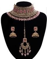 Sabyasachi Inspired Baby Pink Bridal Jewellery Set NAPA11303 Indian Jewellery