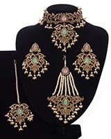 Mughal Princess Pearl Indian Jewellery Set - Choker, Ear, Tikka & Jhumar - baby pink & mint NAPC11305 Indian Jewellery