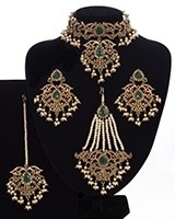 Mughal Princess Pearl Indian Jewellery Set - Choker, Ear, Tikka & Jhumar - Bottle GreenNAGC11307 Indian Jewellery