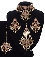 Mughal Princess Pearl Indian Jewellery Set - Choker, Ear, Tikka & Jhumar NAPC11314 Indian Jewellery