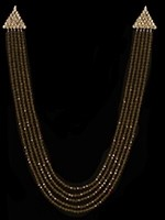 Multi-Stranded Crystal Long Indian Necklace - Cola Brown NAGC11317 Indian Jewellery