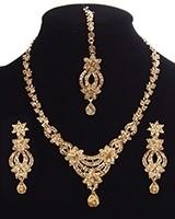 Elegant Golden Crystal Necklace Set NANC11326 Indian Jewellery