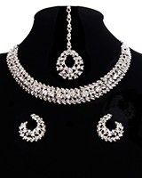 Elegant Silver Crystal Collar Necklace & Studs NSWC11328 Indian Jewellery