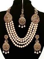 Asian 4-Stranded Pearl Mala Set - golden champagne (lct) NANL11426 Indian Jewellery