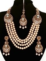 Asian 4-Stranded Pearl Mala Set - white NAWL11427 Indian Jewellery