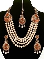 Asian 4-Stranded Pearl Mala Set NAOL11428C Indian Jewellery