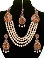 Asian 4-Stranded Pearl Mala Set NAOL11428C Indian Jewellery