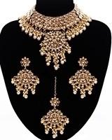 Pakistani Mughal Pearl & Champagne Kundan Jewellery NENL11430 Indian Jewellery