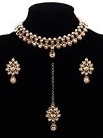 Delicate Indian Choker Jewellery in Golden Kundan & Pearl NANL11438 Indian Jewellery