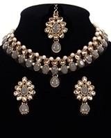 Delicate Indian Choker Jewellery in Golden Kundan & Pearl NANL11439C Indian Jewellery