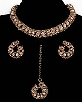 Elegant Champagne Crystal Collar Necklace & Studs - Blush / Nude NGPC11459 Indian Jewellery