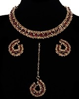Elegant Champagne Crystal Collar Necklace & Studs - Maroon Red NGRC11460 Indian Jewellery