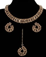 Elegant Champagne Crystal Collar Necklace & Studs NGNC11461 Indian Jewellery