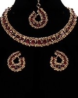 Elegant Champagne Crystal Collar Necklace & Studs NGNC11462C Indian Jewellery
