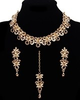 Elegant Champagne & Clear Crystal Indian Collar Necklace Set NGNC11463 Indian Jewellery