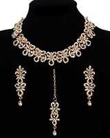 Elegant White Crystal Indian Collar Necklace Set NGWC11464 Indian Jewellery