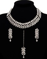 Elegant Silver & Clear Crystal Asian Jewellery Set NSWC11465 Indian Jewellery