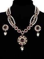 Fancy Pearl Mala Necklace & Indian Stud Earrings - maroon red NARL11472 Indian Jewellery