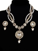 Fancy Pearl Mala Necklace & Indian Stud Earrings - white NAWL11473 Indian Jewellery