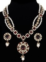 Fancy Pearl Mala Necklace & Indian Stud Earrings NAWL11474C Indian Jewellery