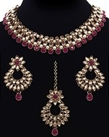 Antique Elegant Indian Choker Jewellery Set - Champagne NANL11484C Indian Jewellery