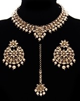 Antique Gold, Delicate Indian Choker with Statement Earrings NANL11485 Indian Jewellery