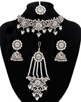 Premium Silver Pakistani Jewellery incl. Choker & Jhumar NSWK11487 Indian Jewellery