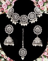American Diamond, Silver Floral Indian Choker Jewellery NSWL11488 Indian Jewellery
