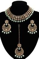 Antique Flexible Indian Jewellery Set - pale mint green NAGK11504 Indian Jewellery