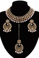 Antique Flexible Indian Jewellery Set - blush, nude NAPK11507 Indian Jewellery