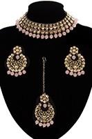 Antique Flexible Indian Jewellery Set - peach NAPK11507 Indian Jewellery
