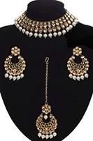 Antique Flexible Indian Jewellery Set - pearl NAWK11502 Indian Jewellery
