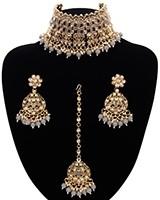 Asian Fashion Wide-Choker Jewellery Set - grey NAEK11511 Indian Jewellery