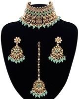 Asian Fashion Wide-Choker Jewellery Set - mint green NAGK11512 Indian Jewellery
