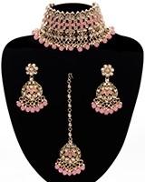 Asian Fashion Wide-Choker Jewellery Set - baby pink NAPK11514 Indian Jewellery
