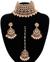 Asian Fashion Wide-Choker Jewellery Set - peach LAPK11515 Indian Jewellery