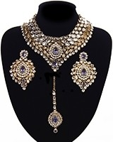 Statement Kundan Collar Necklace Set - greyish lavender purple NAUK11521 Indian Jewellery