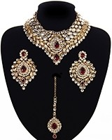 Statement Kundan Collar Necklace Set - vibrant maroon red NARK11523 Indian Jewellery