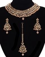 Peach Champagne American Diamond Antique Set NAPA11525 Indian Jewellery