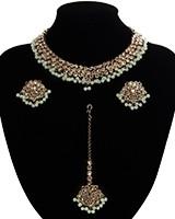 Antique American Diamond Choker, Stud Earrings & Tikka - mint green NAGA11528 Indian Jewellery