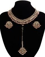 Antique American Diamond Choker, Stud Earrings & Tikka - peach NAPA11529 Indian Jewellery