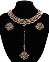 Antique American Diamond Choker, Stud Earrings & Tikka - pastel pink NAPA11530 Indian Jewellery