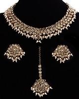 Antique American Diamond Choker, Stud Earrings & Tikka NANA11533C Indian Jewellery
