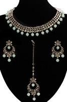 Elegant Antique American Diamond Indian Jewellery Set - Mint Green NAGA11536 Indian Jewellery