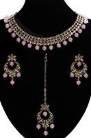 Elegant Antique American Diamond Indian Jewellery Set - Baby Pink NAPA11537 Indian Jewellery